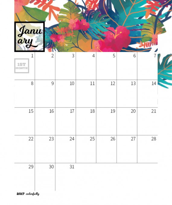 Colorfully Desktop Calendar Template – 2017-colorfully-calendar-template2