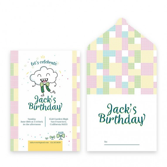 Happy Sunshine Day Template Pack – printed-invitation-and-envelope-2