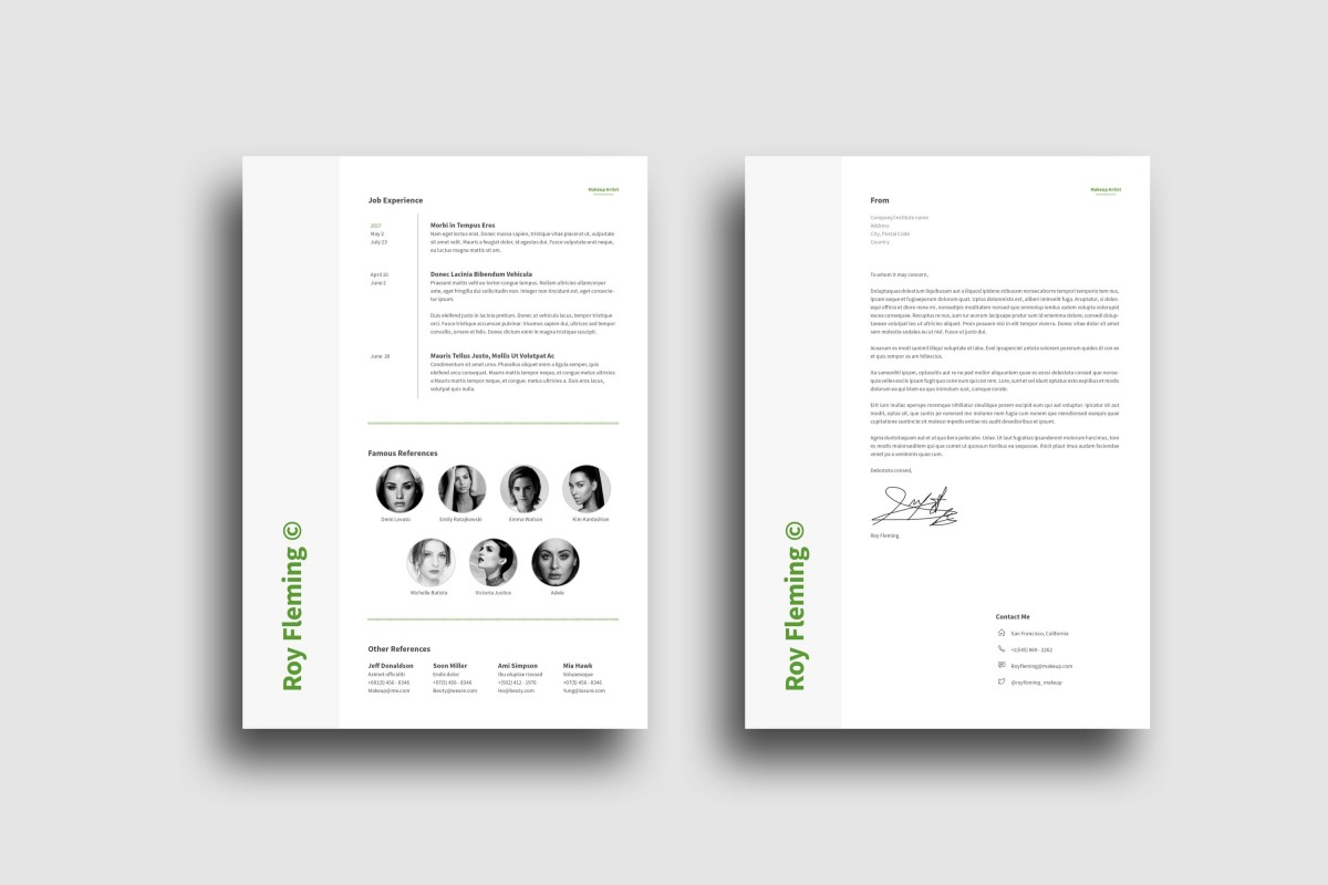 Free Resume CV InDesign Template, Makeup Artist Edition • Pagephilia