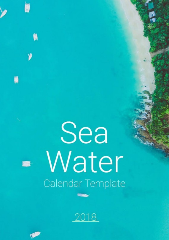 Sea Water, Plantilla de Calendario – sea-water-calendar-template-clabii-1