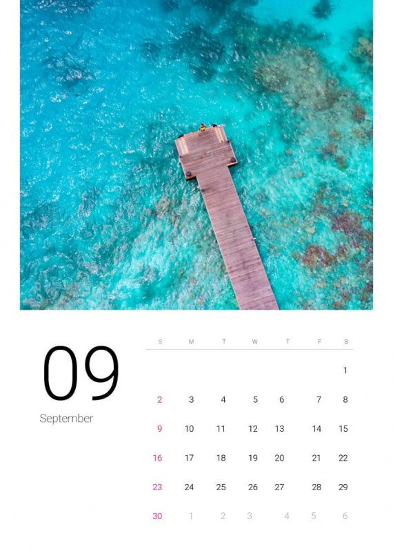 Sea Water, Plantilla de Calendario – sea-water-calendar-template-clabii-10