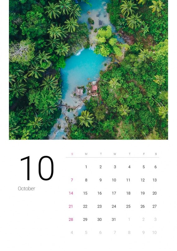 Sea Water, Plantilla de Calendario – sea-water-calendar-template-clabii-11