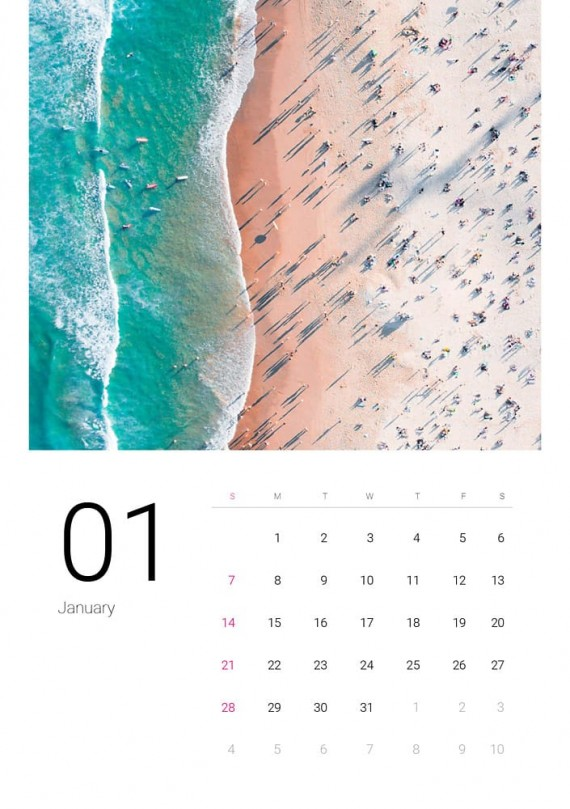 Sea Water, Plantilla de Calendario – sea-water-calendar-template-clabii-2
