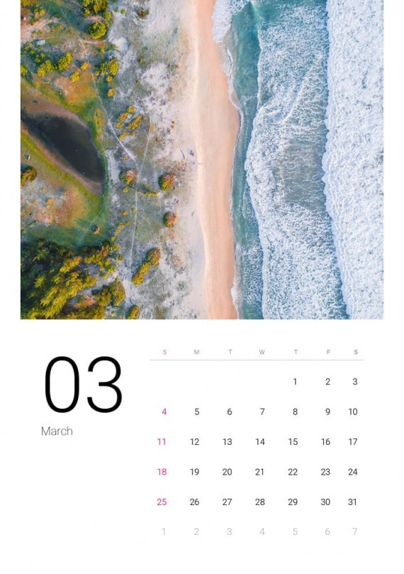 Sea Water, Plantilla de Calendario – sea-water-calendar-template-clabii-4