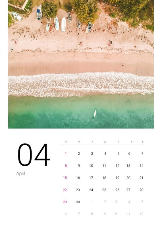 Sea Water, Plantilla de Calendario – sea-water-calendar-template-clabii-5