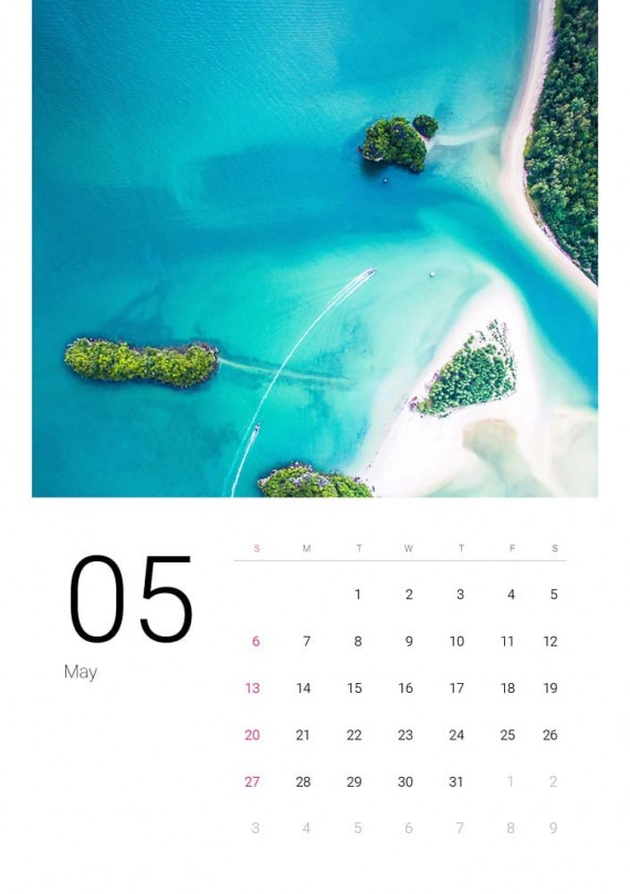 Sea Water, Plantilla de Calendario – sea-water-calendar-template-clabii-6