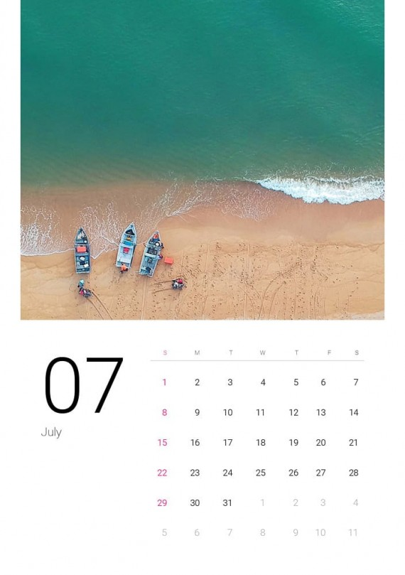 Sea Water, Plantilla de Calendario – sea-water-calendar-template-clabii-8