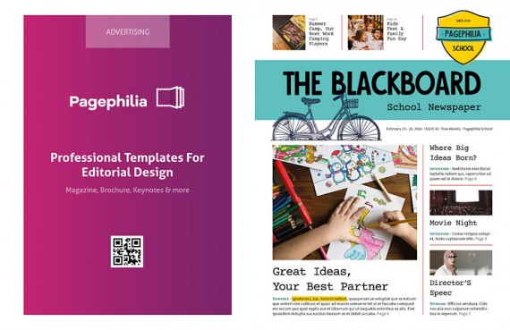 The Blackboard, Plantilla de Periódico Escolar – the-blackboard-school-newspaper-template-clabii-preview-1