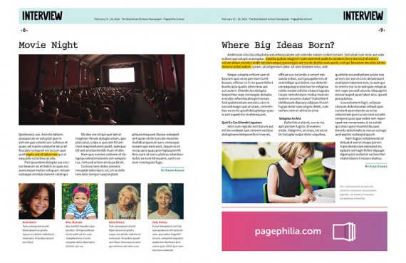 The Blackboard, Free School Newspaper Template for InDesign • Pagephilia