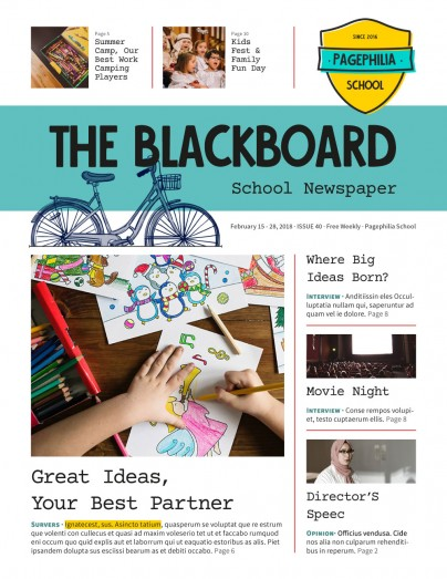 The Blackboard, School Newspaper Template By Clabii on Pagephilia