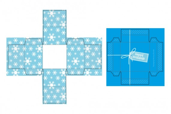 Christmas Packaging Vector Designs (Pack-Man Edition) – cube-gift-box-mockup-2-blueprint