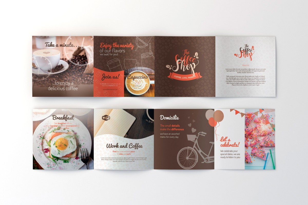 coffee shop free brochure template for illustrator