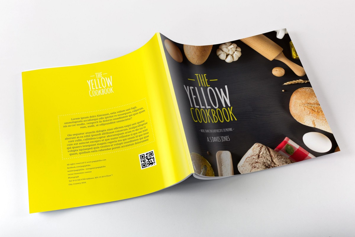 Yellow Cookbook, Free Bakery CookBook Template for InDesign • Pagephilia